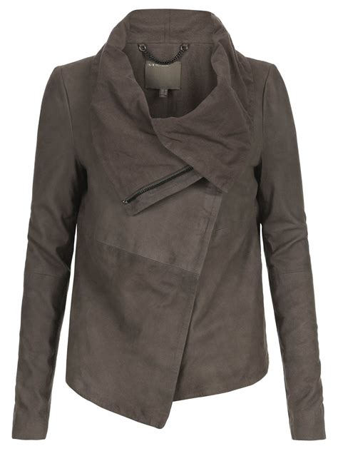 muubaa draped leather jacket sinoia suede drape jacket in hard grey
