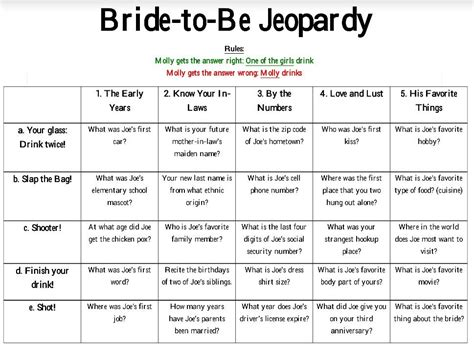 free printable bridal shower jeopardy game bride to be jeopardy for bachelorette party points are