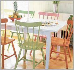 Kitchen Chairs Painted Different Colors by Painted Kitchen Tables Chairs On Painted