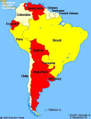 south america map with names map of south america without names