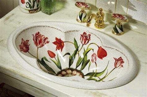 floral bathroom sinks painted bathroom sinks with floral design home design garden architecture blog