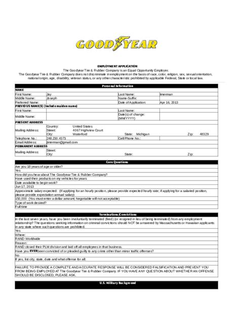 free printable goodyear application form