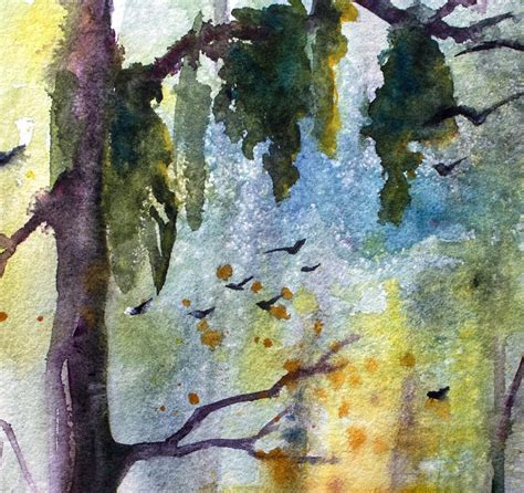 Watercolor On Handmade Paper - wetland morning landscape original watercolor on