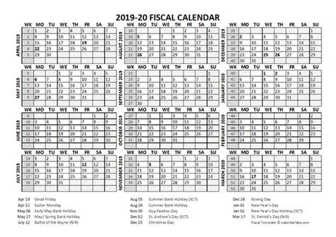 fiscal calendar template starts  april  printable templates