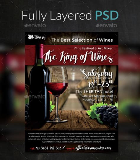 26 wine flyer designs psd vector eps jpg download