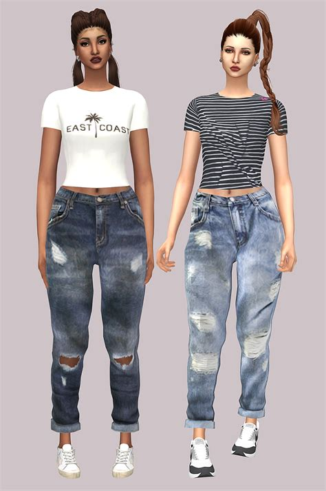 sims 4 cc boyfriend jeans sims4 marigold lumy sims tight short sleeve top recolor