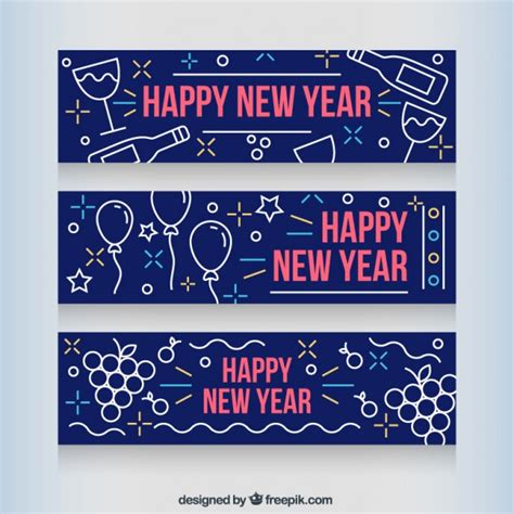 new year year signs new year banners vector free