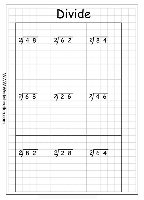 printable division games with remainders long division 2 digits by 1 digit no remainder 10