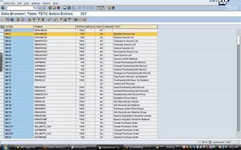 sap t code description table sap tcode finder