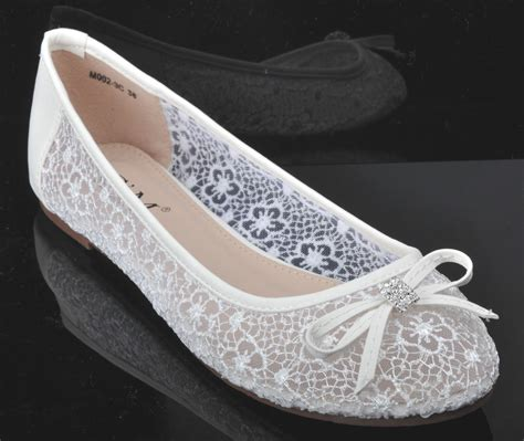 White Lace Flats For Wedding by White Lace Diamante Wedding Ballerina Bridal Flat