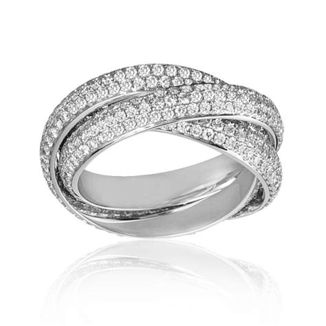 Three Ring by Mazal 3 30 Three Twined Band Pave Ring