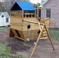 outside playhouse plans pirate ship playhouse plans home 187 outdoor wooden playsets 187 large noah s ark ship playset
