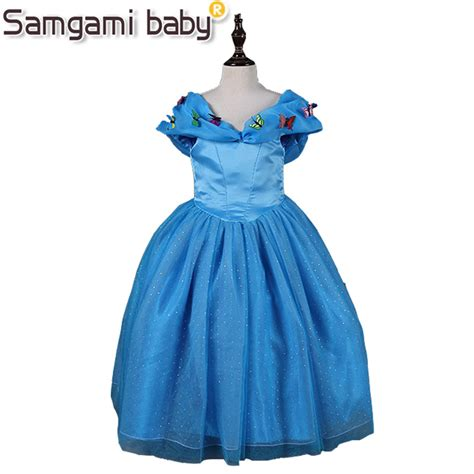 samgami baby europe and the united states fashion cinderella v collar butterfly blue princess