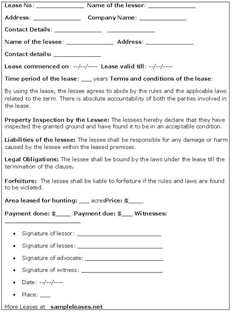 printable hunting lease agreement rental lease agreement forms ez landlord forms html