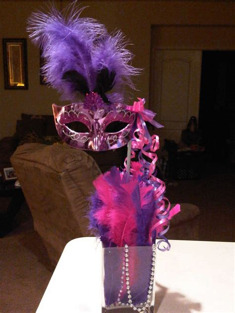 tall mask centerpiece masquerade theme pinterest