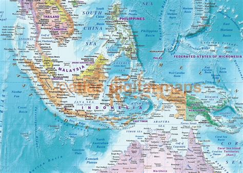 World Map Splendid Political Wall - world wall map rolled canvas political colour relief blue
