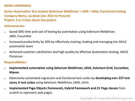 Selenium Resume by Real World Selenium Resume Which Gets More Interviews