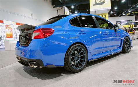 subaru wrx sti light blue mb style carbon fiber rear lip for 2015 2018 subaru wrx sti