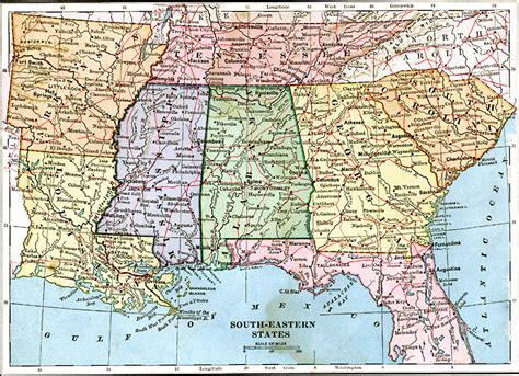 road map southern us states southeastern states