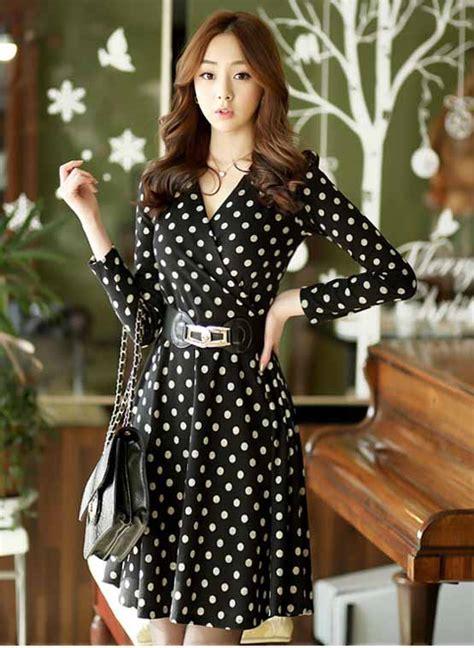 Baju Wanita Sweater Lengan Panjang Hitam Putih Polkadot dress polkadot hitam putih panjang model terbaru jual