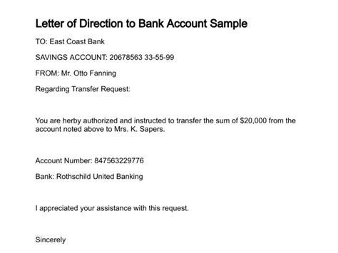 Financial Letter Of Direction indemnity for the bank templates print paper templates