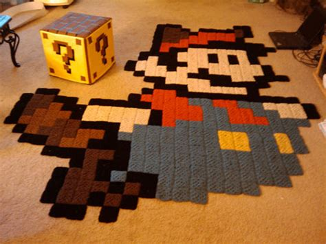 8 bit rug 8 bits and knits crochet raccoon mario rug