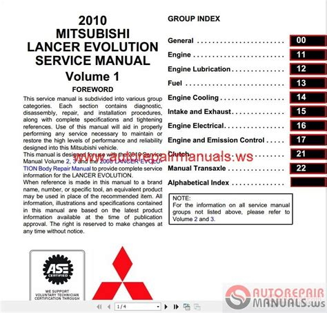 car maintenance manuals 2003 mitsubishi lancer evolution user handbook mitsubishi lancer evo x 2010 service manual auto repair manual forum heavy equipment forums