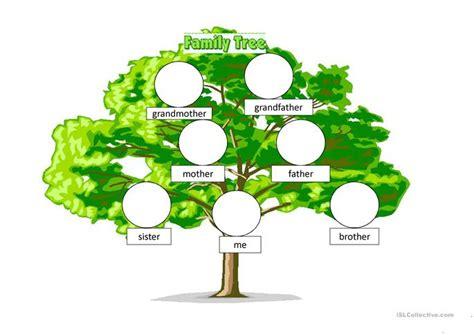 beginners family tree worksheet free esl projectable
