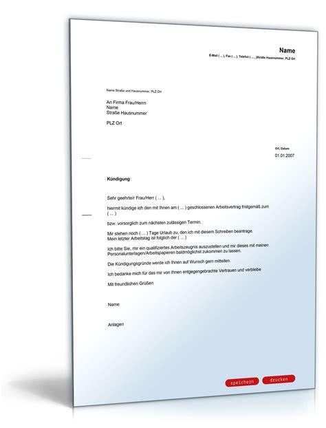Vorlage Kündigung Arbeitsvertrag Doc vorlage k 252 ndigung arbeitsvertrag k 252 ndigung vorlage fwptc