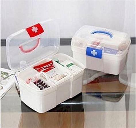 Box Obat 2 Layers Plastic Medicine Storage Box Chest Aid