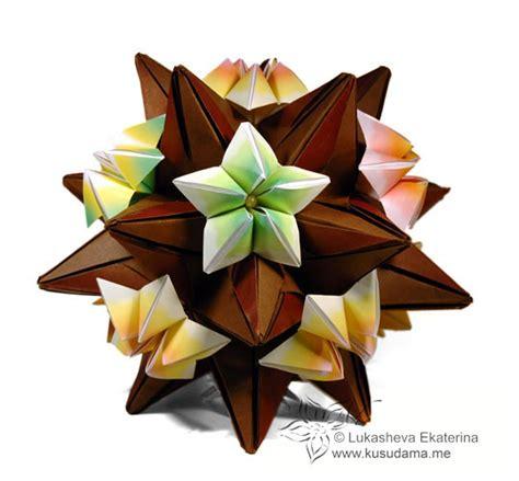 Carambola Origami - kusudama me modular origami clematis unit