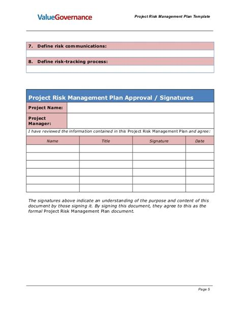 layout approval process pm pm001 05 project risk management templates
