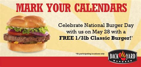 Back Yard Burgers Email Free Classic Burger At Back Yard Burgers On 5 28