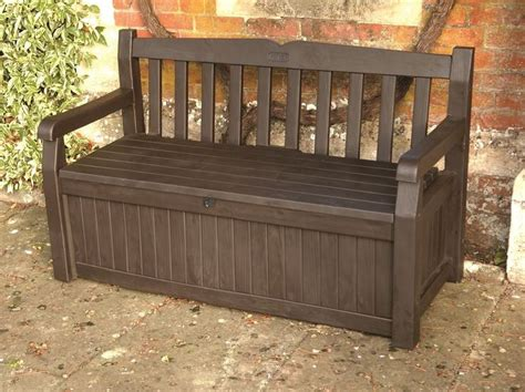 keter garden storage bench seat keter iceni garden storage bench box 265ltr capacity