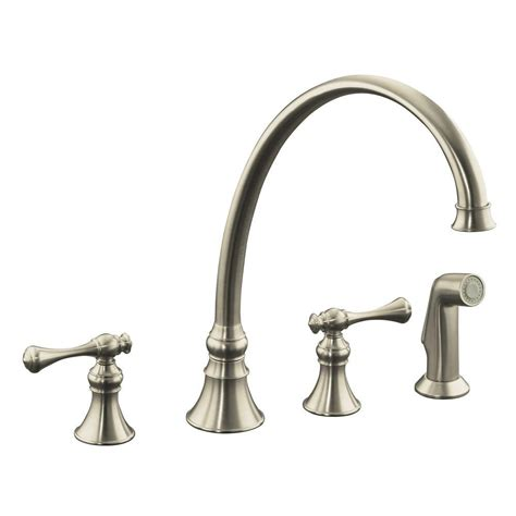 kohler brushed nickel kitchen faucet kohler revival 2 handle standard kitchen faucet in vibrant