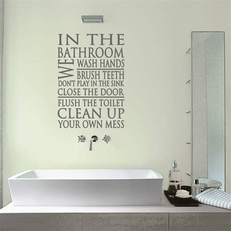 bathroom decal bathroom rules word block wall sticker by mirrorin