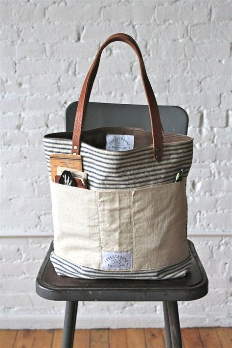 All For Fabric Totes And Fabric Totes For All by 1950s Era Ticking Fabric Tote Bag Forestbound