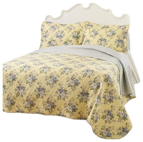 Lightweight Quilt Sets Shop Houzz Fastfurnishings King Yellow Blue Floral