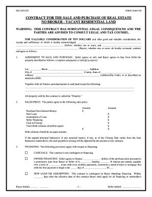 simple land sale agreement fill printable