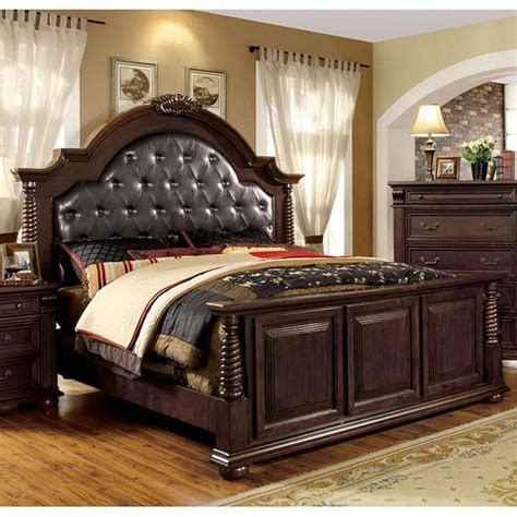 south hton king bedroom set shop furniture of america esperia brown cherry bed