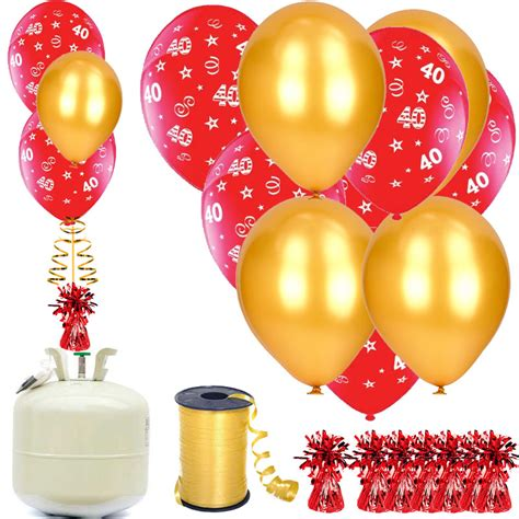 40th red and gold balloons amp helium package balloons co uk