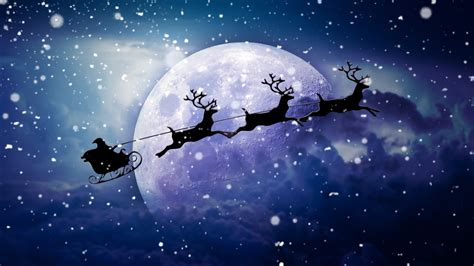 santa reindeer chariot moon wallpapers hd wallpapers