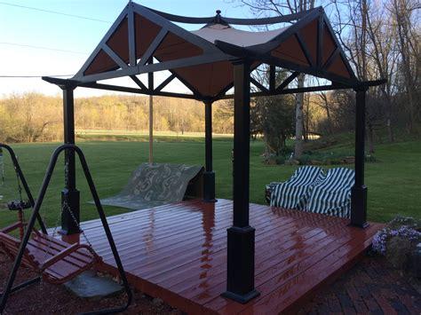 lowes garden treasure matte black pergola canopy solution