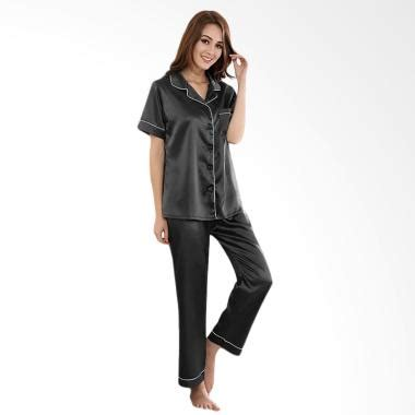 Baju Tidur Tangan Panjang Celana Panjang jual jfashion silky polos tangan pendek celana panjang setelan baju tidur wanita hitam