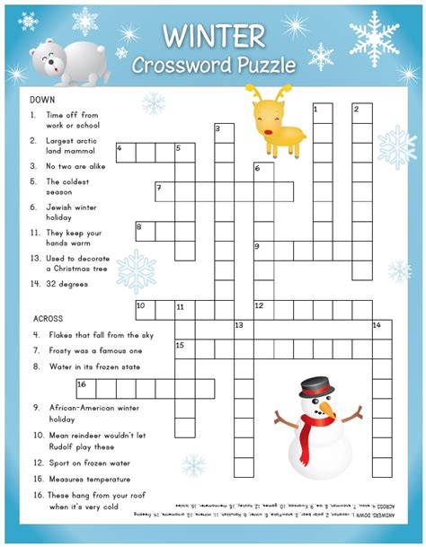 12 best winter puzzles images happy holidays try the winter crossword puzzle the quill