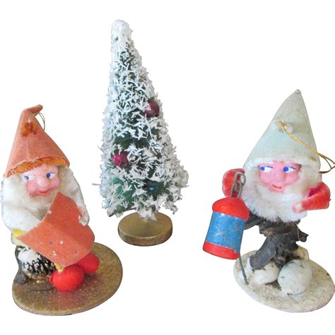 vintage pine cone santa claus and doll house christmas tree from nostalgicimages on ruby lane