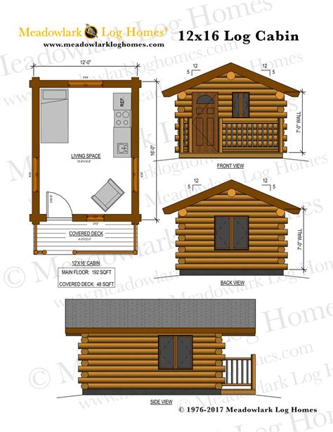 cabin plans 12x16 log cabin meadowlark log homes