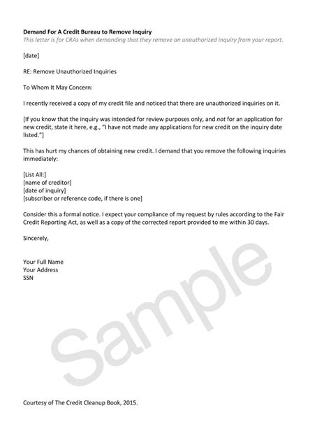 Inquiry Removal Letter Template Credit Resources Home Of The Credit Cleanup Newsletter