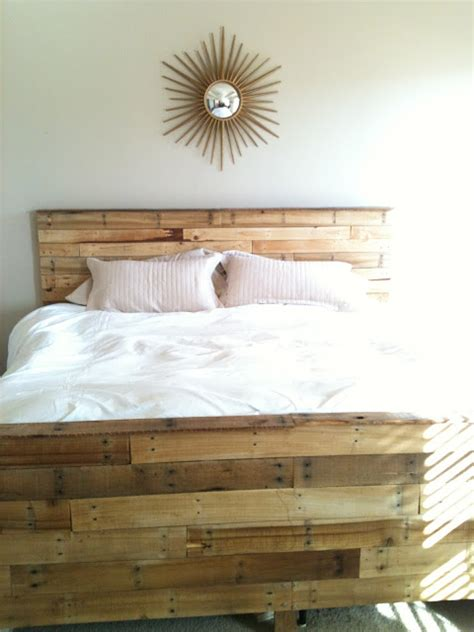 bed frame made out of pallets playing house so we made our bed out of pallets