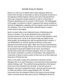 Essay On Slavery by Sle Essay On Slavery